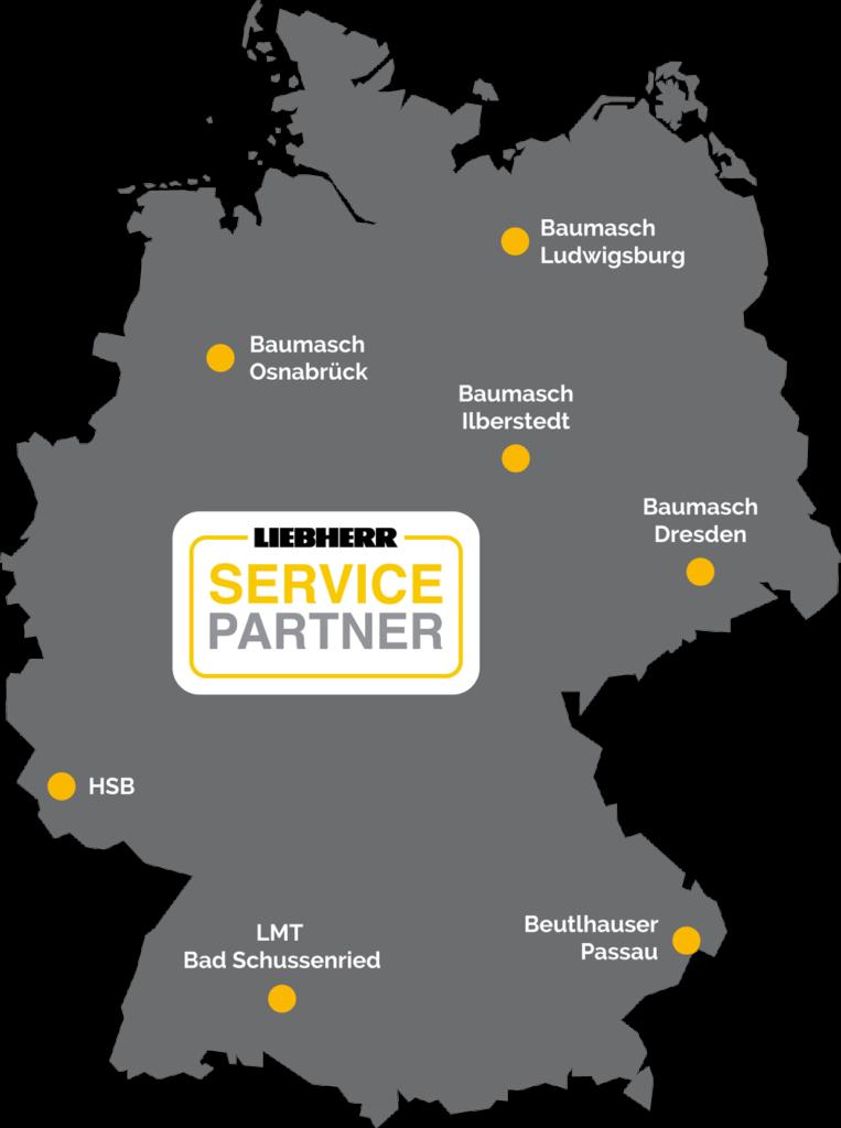 Baumasch Deutschlandkarte Liebherr